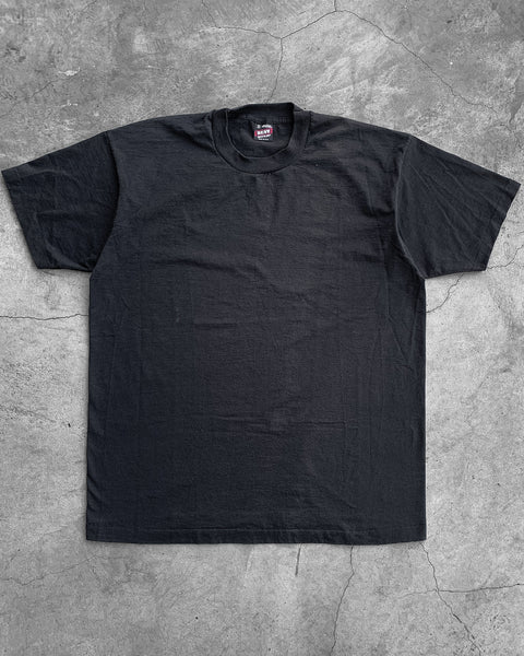 Single Stitched Black Faded Fruit of the Loom Tee - 1990s