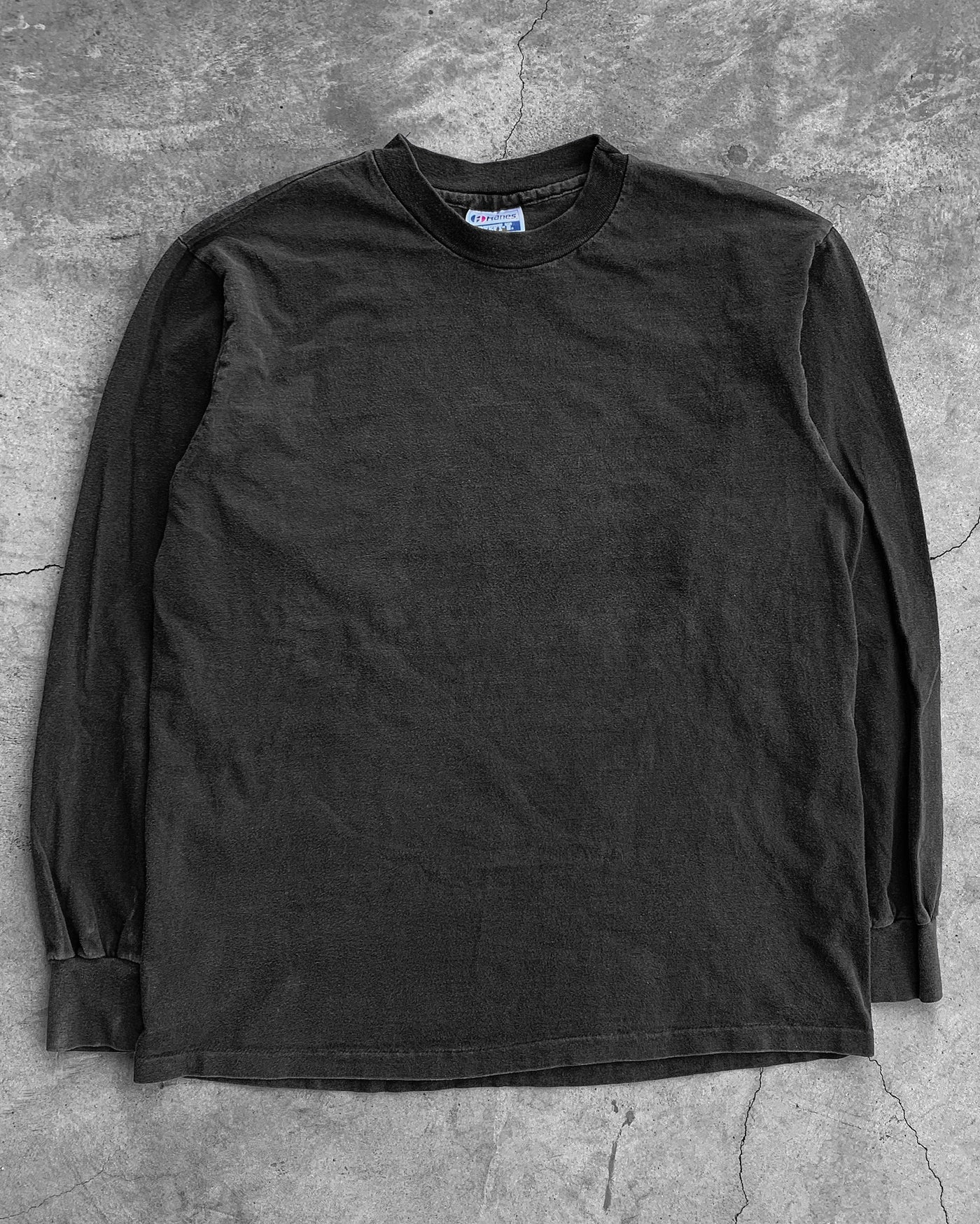 Single Stitched Black Hanes Beefy Long-Sleeve Tee  - 1990s