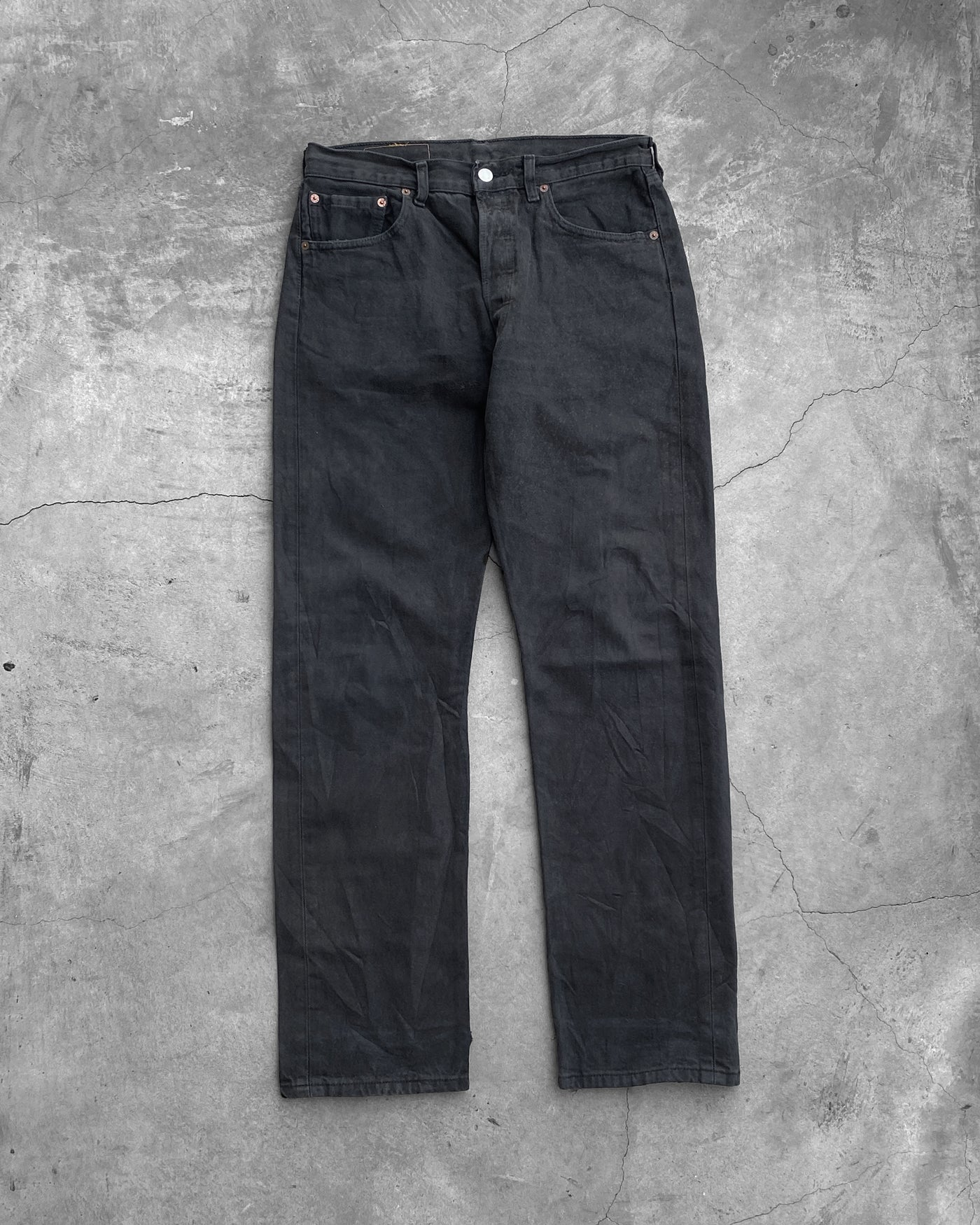 Levi's 501 Crotch Repair Faded Black Jeans - 1990s