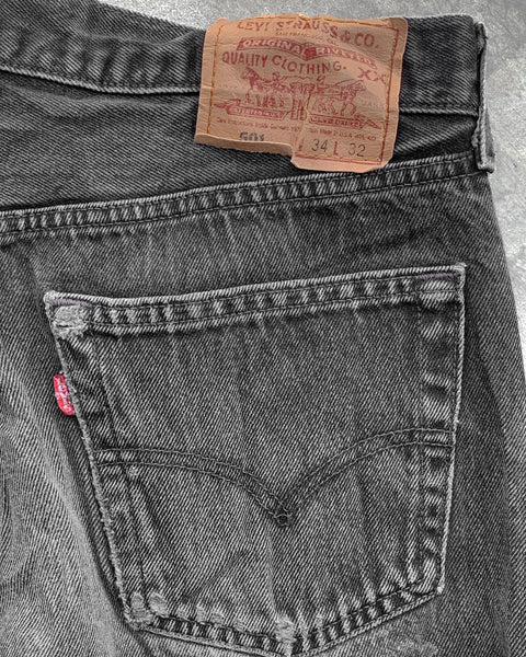 Levi's 501 Faded Washed Black Jeans - 1990s