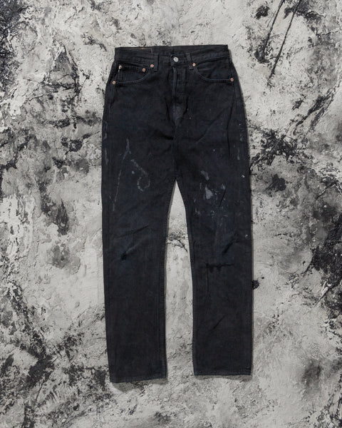 Levi's 501 Distressed Painted Black Jeans - 1990s