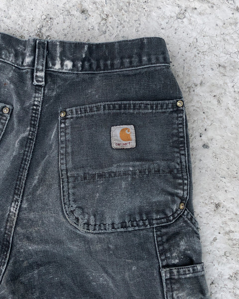 Carhartt Faded Black Thrashed Double Knee Work Pant - 1990s