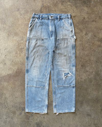 Carhartt Distressed Denim Double Knee Work Pants