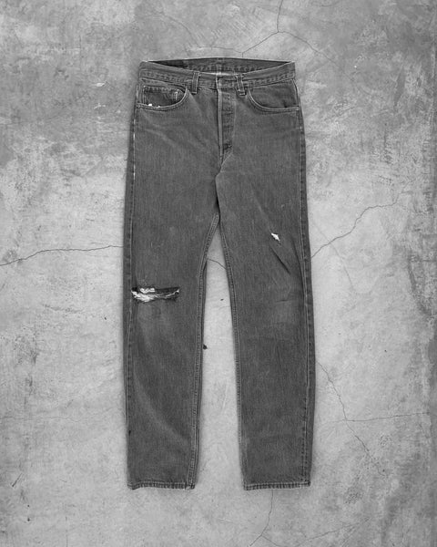 Levis 501 Black Faded Blowout Jeans - 1990s