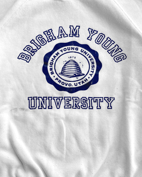 "White ""Brigham Young University"" Raglan Sweatshirt - 1990s"