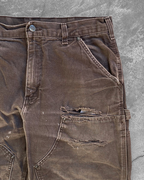 Carhartt Faded Brown Distressed Double Knee Work Pant - 1990s