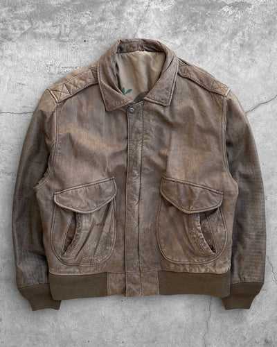 Brown Leather Hunting Jacket - 1990s