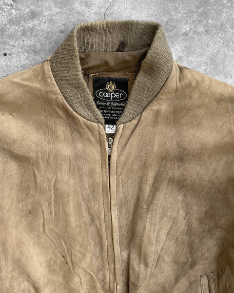 Brown Suede Bomber Jacket - 1960s