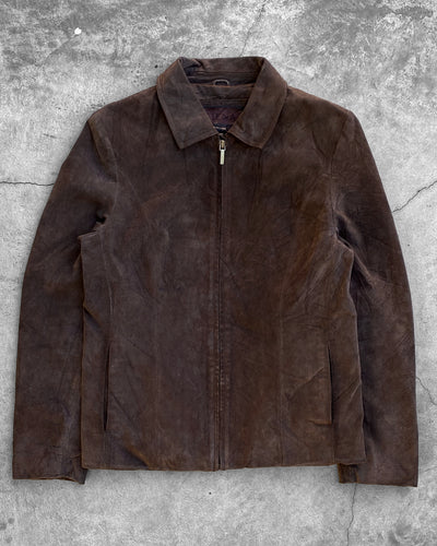 Brown Suede Zip-Up Jacket - 1990s