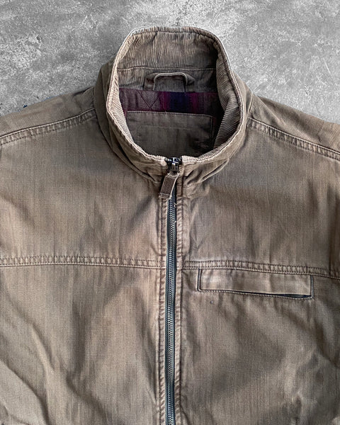 Brown Herringbone Twill High-Neck Jacket - 1990s