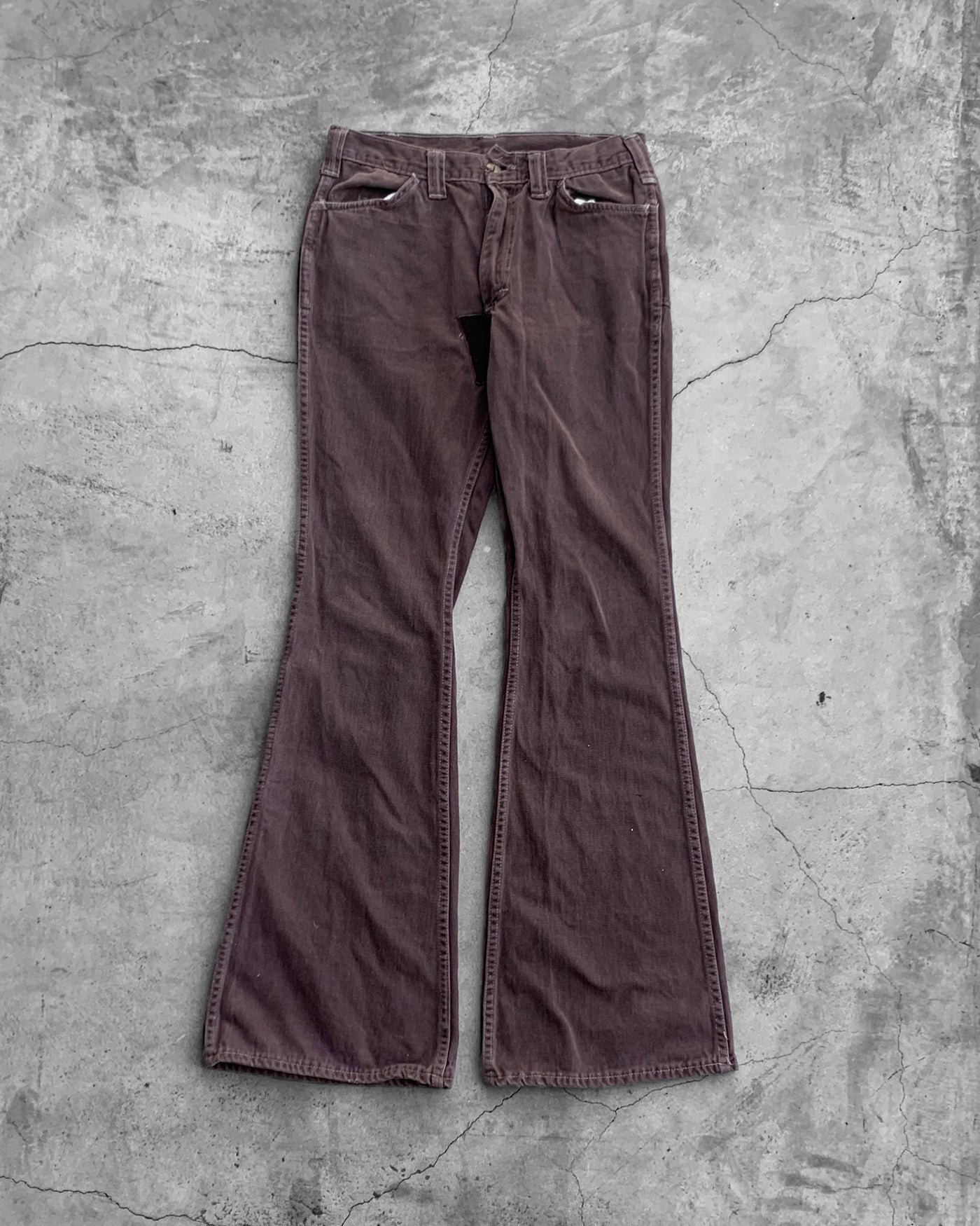 Lee Crotch Repaired Brown Flare Pants - 1960s