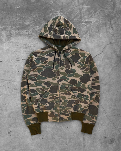 Thermal Lined Camouflage Zip Up Hooded Sweatshirt - 1990s