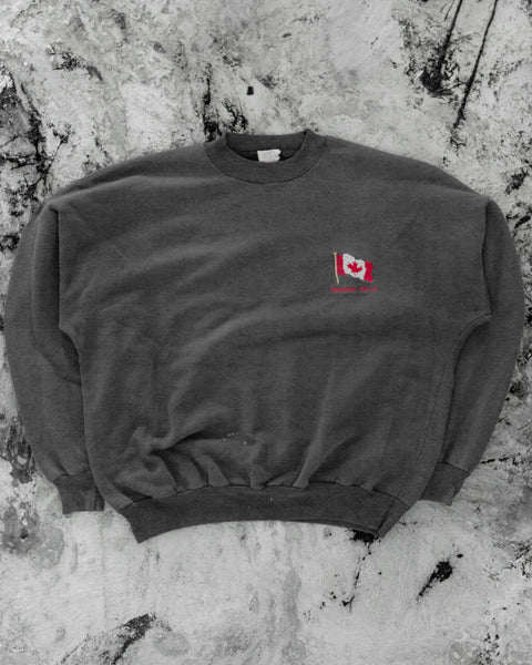 "Faded Black ""Niagara Falls"" Embroidered Crewneck Sweatshirt - 1990s"