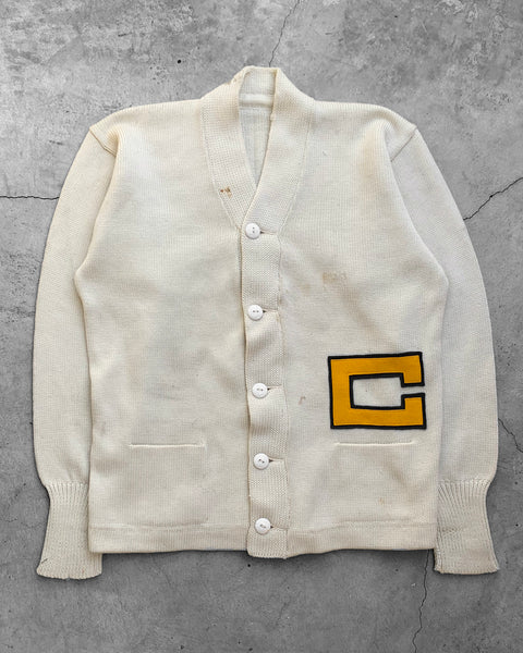 Cream Collegiate Cardigan Sweater - 1960s