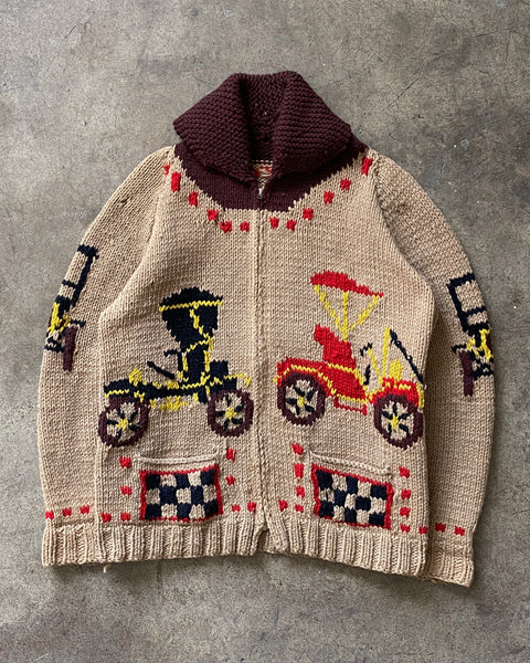 Carriage Cowichan Zip-Up Knitted Cardigan - 1960s