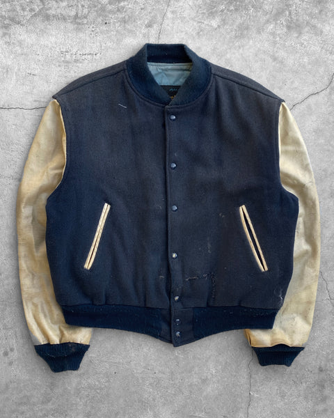 "Sun Faded ""Central"" Leather Sleeve Varsity Jacket - 1980s"