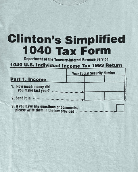 "Single Stitched ""Clinton's 1040 Tax Form"" Tee - 1990s"
