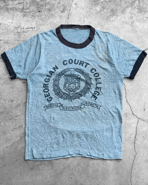 """Georgian Court College"" Dirty Blue Ringer Tee - 1980s"