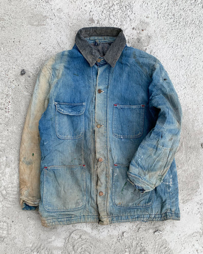 Sun Bleached Blanket Lined Denim Chore Jacket - 1960s