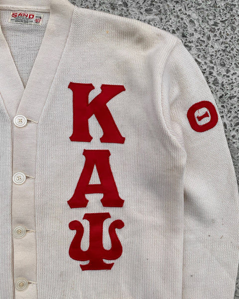 "Cream ""Phi Nu Pie Kappa Alpha Psi"" Knitted Cardigan Sweater - 1960s"