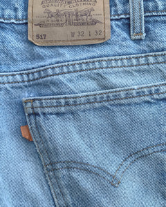 Levi's 517 Distressed Orange Tab Blue Flared Jeans - 1970s