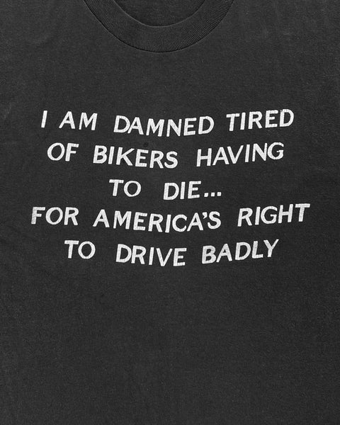 """...America's Right To Drive Badly"" Cutoff Tee - 1980s"