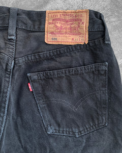 Levi's 501 Faded Distressed Black Jeans - 1990s