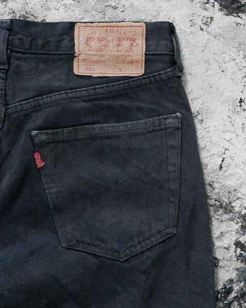 Levi's 501 Stained & Distressed Black Faded Jeans - 1990s