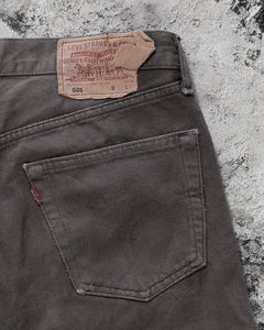 Levi's 501 Torn Crotch Brown Released Hem Jeans - 1990s