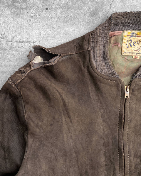 Chocolate Brown Suede Bomber Jacket - 1970s