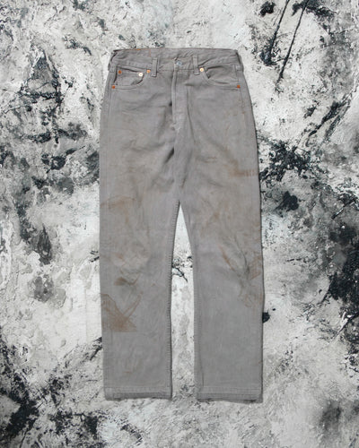 Levi's 501 Ash Grey Stained Released Hem Jeans - 1990s