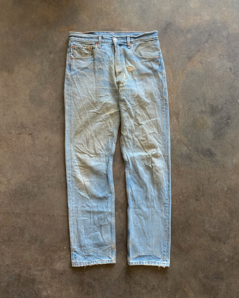 Levi's 501 Faded Dirty Blue Jeans - 1990s