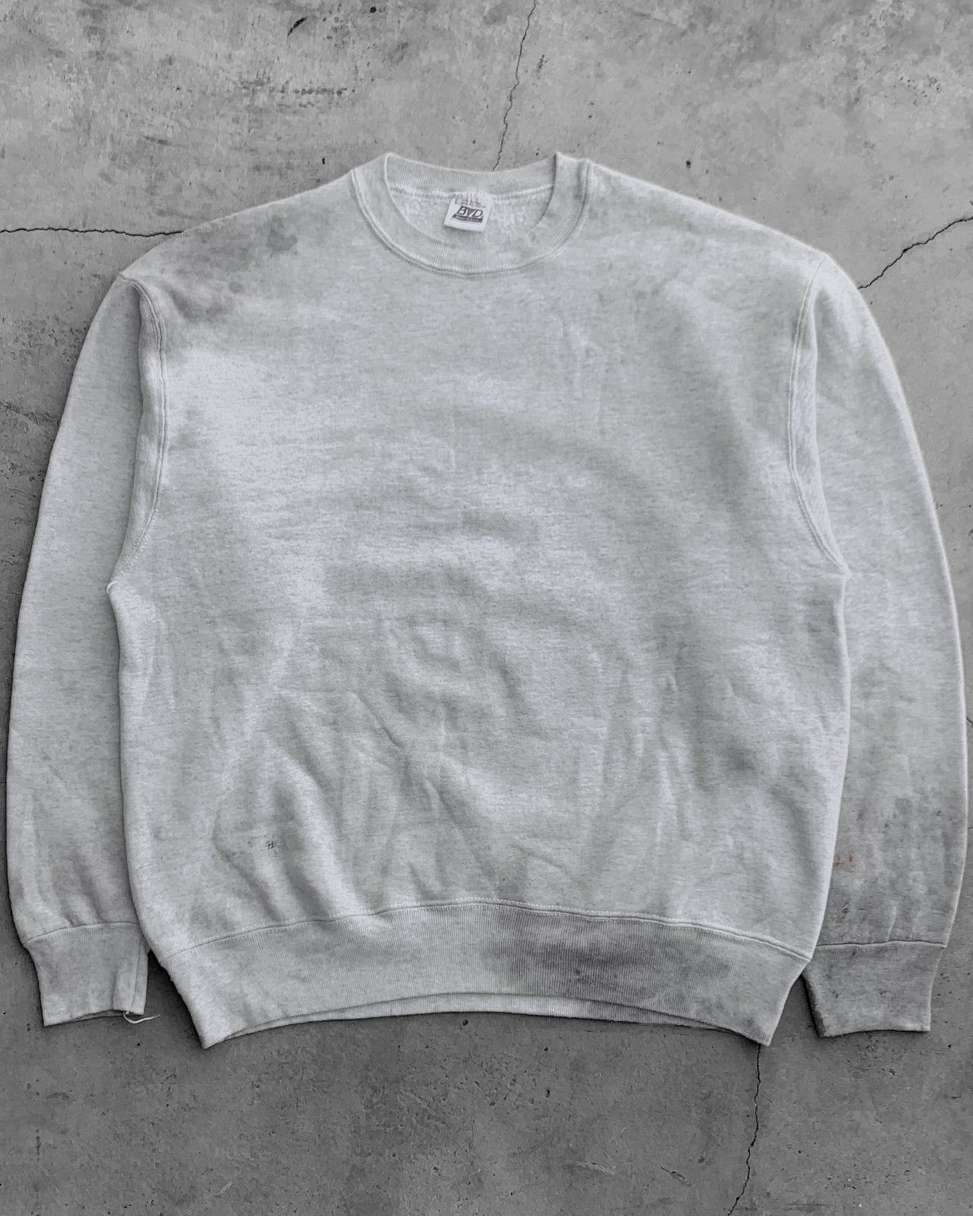 Oil-Stained Grey Crewneck Sweatshirt - 1990s
