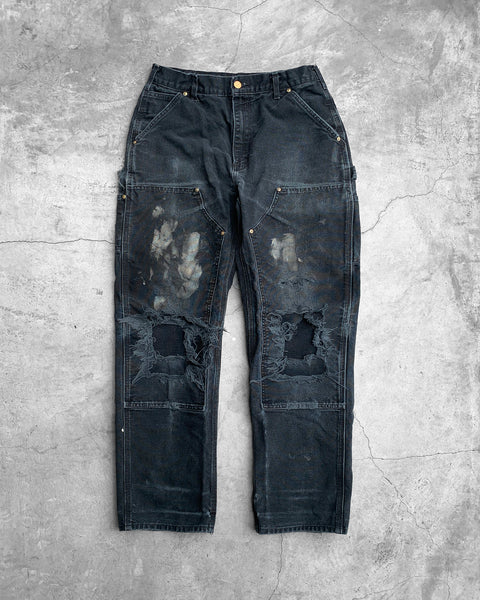 Carhartt Black Painted Blown Out Double Knee Work Pant - 1990s