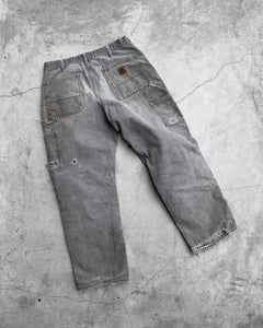 Carhartt Thrashed Stone Grey Double Knee Work Pant - 1990s