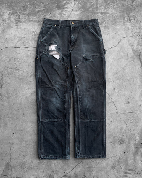 Carhartt Black Distressed Double Knee Pants - 1990s
