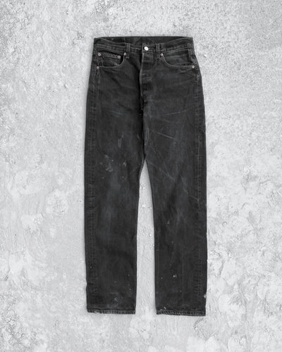 Levi's 501 Stained Black Faded Jeans - 1990s