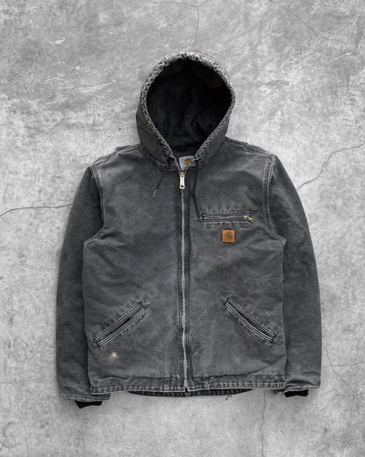 Carhartt Sun Faded Black Hooded Work Jacket - 1990s