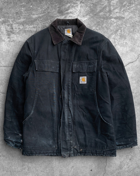 Carhartt Faded Black Distressed Work Jacket - 1990s