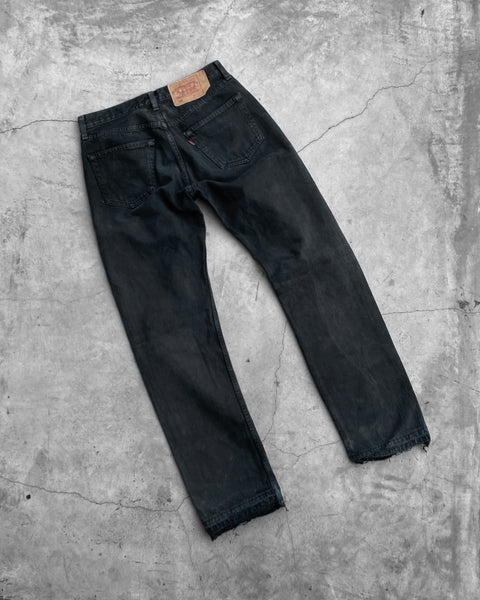 Levi's 501 Black Bleach Stained Released Hem Jeans - 1990s