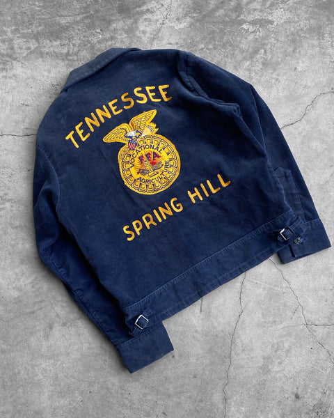 "FFA Sun Faded Navy Corduroy ""Tennessee Spring Hill"" Jacket - 1970s"