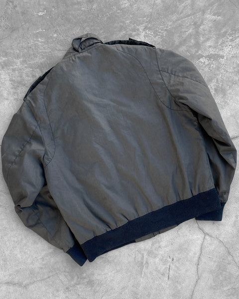 Grey Zip Up Light Bomber Jacket - 1980s