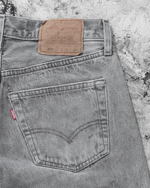 Levi's 501 Stained & Distressed Grey Jeans - 1990s
