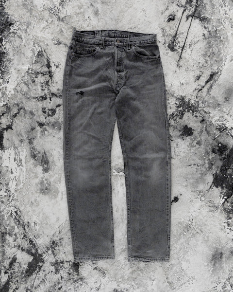 Levi's 501 Faded Distressed Grey Jeans - 1990s