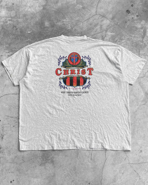 "Fruit of the Loom ""Christ"" Heather Grey Tee - 1990s"