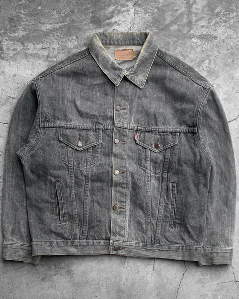 Levi's Faded Grey Denim Trucker Jacket - 1990s