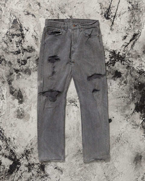 Levi's 501 Slate Grey Distressed Jeans - 1990s