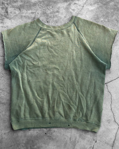 Sun Faded Green Cut-Off Raglan Sweater - 1980s