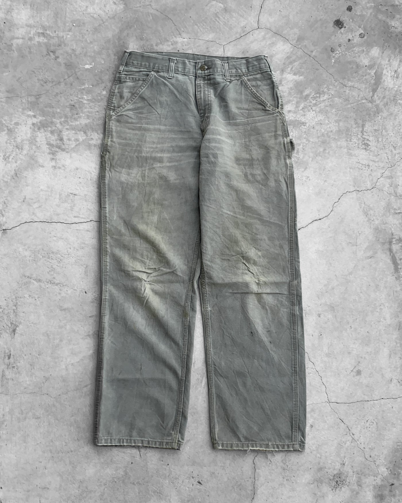 Carhartt Sage Green Distressed Pants - 1990s