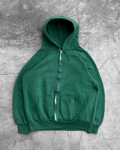 Kelley Green Zip Up Hoodie - 1980s